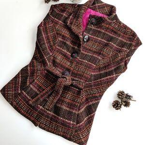 ‼️ CAbi Brown Plaid Button Vest SZ S